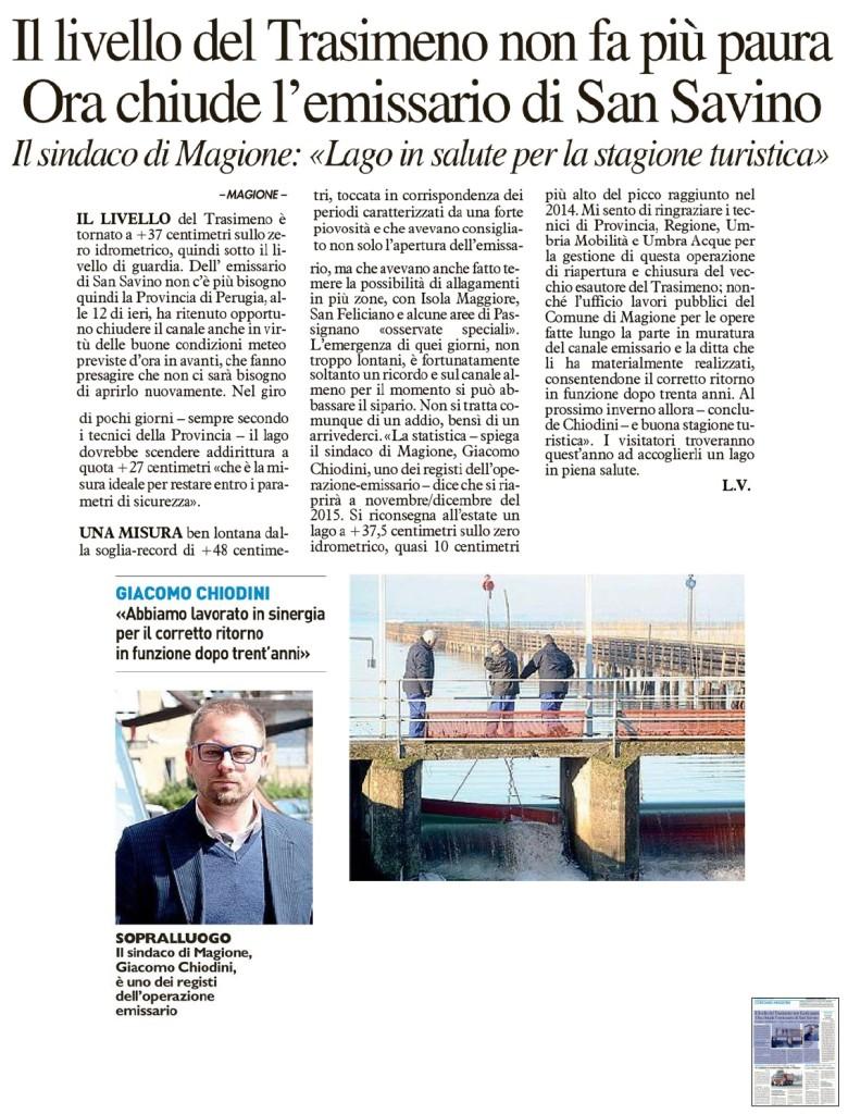 La Nazione Luca Vagnetti su chiusura emissario lago Trasimeno