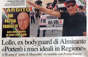 Lollo Frattegiani candidato per l'ennesima volta Forza Nuova sosia Mussolini