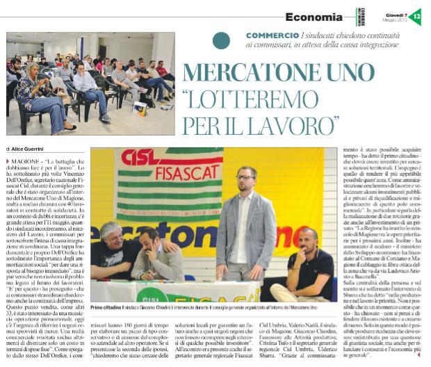 Articolo di Alice Guerrini, Corriere dell'Umbria giovedì 7 maggio 2015