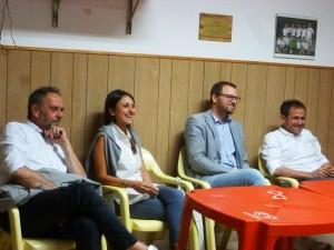 Assemblea pubblica a Vignaia con Michele Baiocco, agronomo di Brunello Cucinelli. Da sinistra Annetti, Maghini, Chiodini e Baiocco