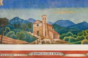 Borgogiglione dipinta da Gerardo Dottori nel ciclo pittorico del palazzo comunale di Magione (foto Lorenzo Dogana)