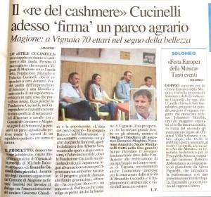 La Nazione, Luca Vagnetti, A Vignaia il parco Cucinelli illustrato alla cittadinanza
