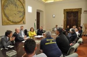 Vertenza Mercatone Uno Magione, incontro lavoratori e presidente Catiuscia Marini a palazzo Donini a Perugia