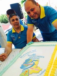 Misericordia di Magione, la torta dei venticinque anni e i volontari Fabrizio Alunni e Filippo Rigucci