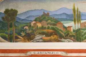 Sant'Arcangelo sul Trasimeno dipinto da Gerardo Dottori nella sala consiliare del palazzo del Comune a Magione