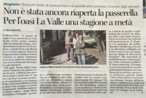 Oasi La Valle, preoccupa la chiusura temporanea della passeggiata in legno