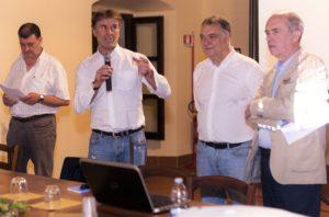 Brunello Cucinelli e Paolo Belardi a Pucciarella per l'iniziativa dell'università sul centro storico di Antria